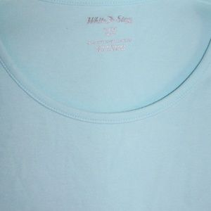 WOMENS BLUE TOP SMALL 4/6 SHORT SLEEVE